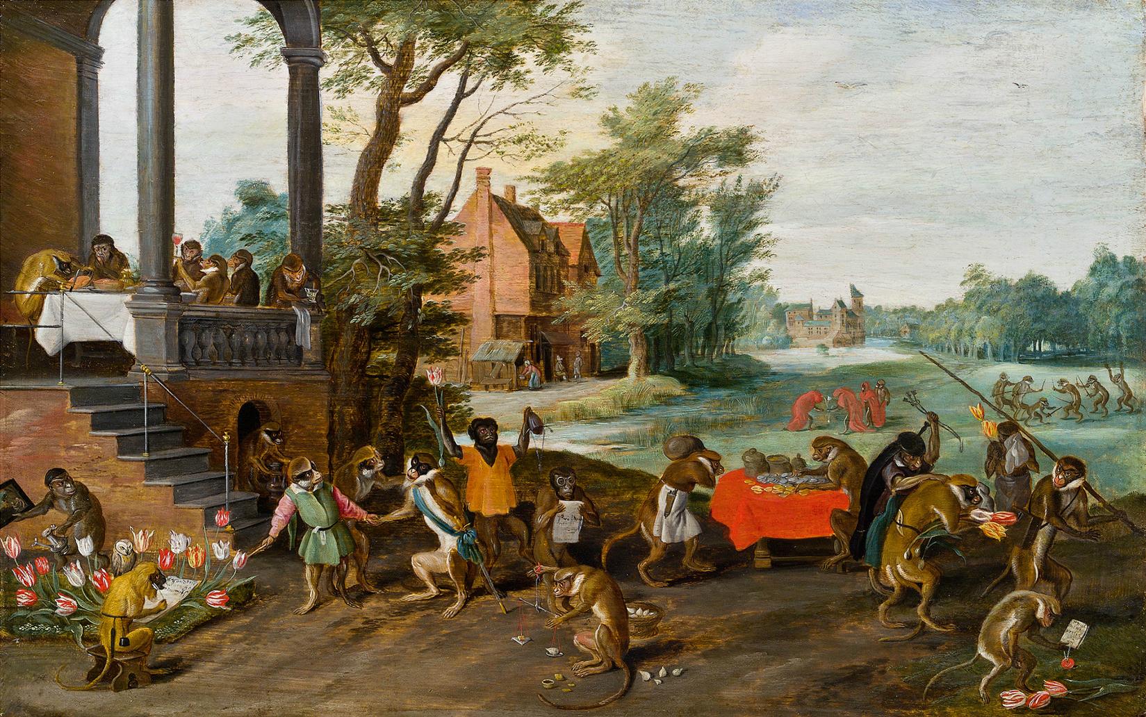 """Photo : Peinture de Jan Brueghel le Jeune """"Allégorie de la manie des tulipes"""", vers 1640"""